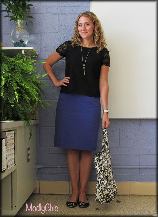 black-lace-shirt-blue-pencil-skirt1