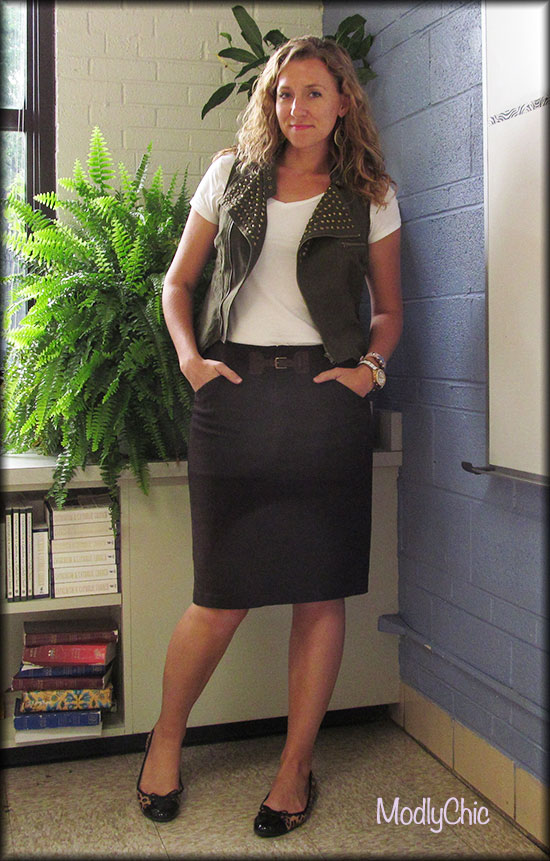 Brown Pencil Skirt and Studded Vest - ModlyChic