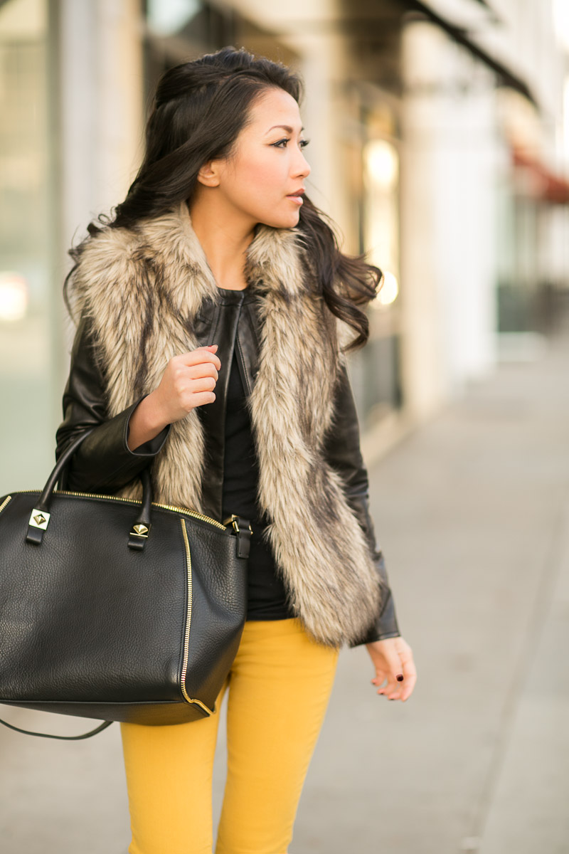 how to wear a fur vest 8 styles to try modlychic. Black Bedroom Furniture Sets. Home Design Ideas