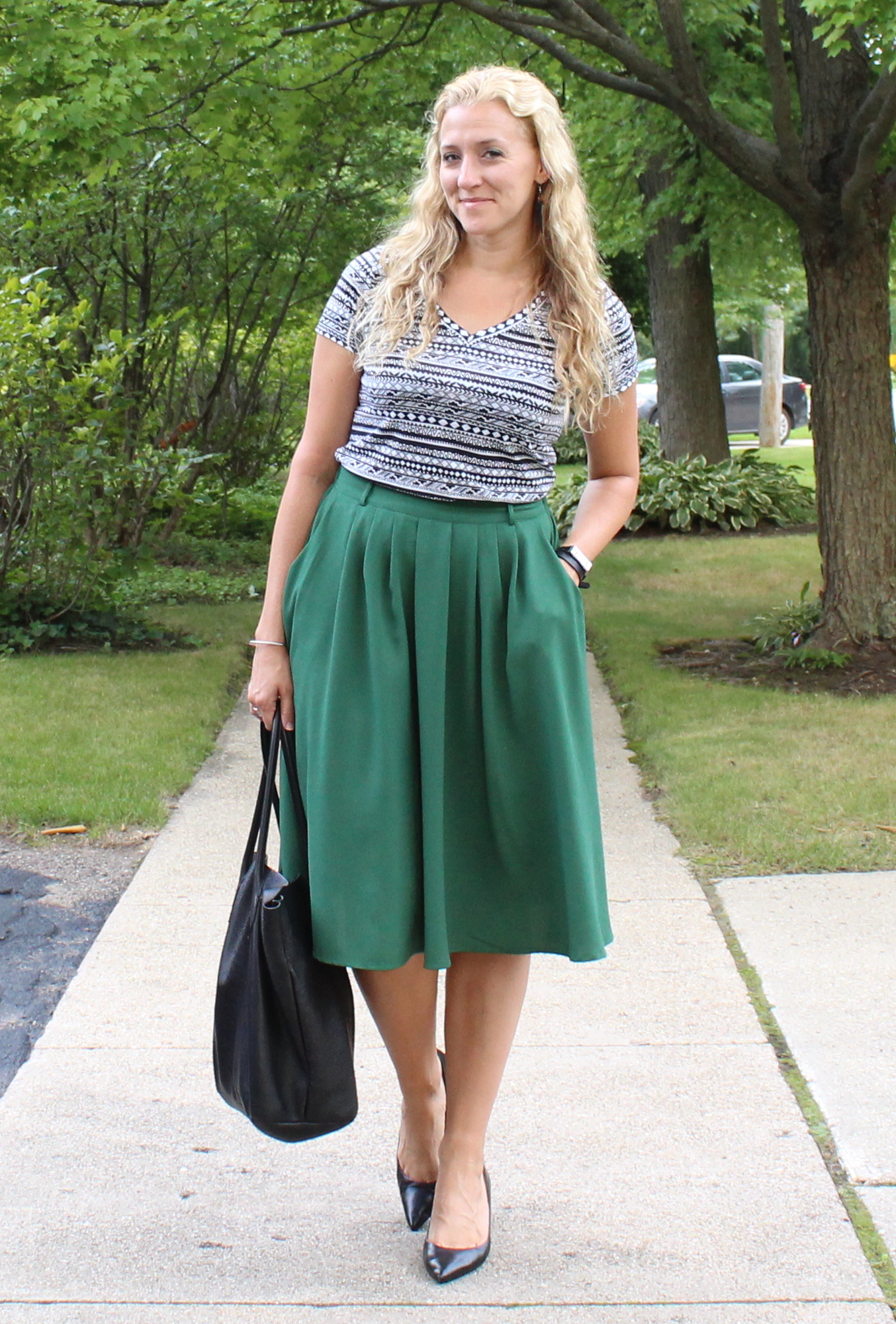 Emerald Green Full Midi Skirt - ModlyChic